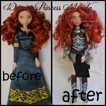 repainted ooak warrior princess merida doll. by verirrtesIrrlicht