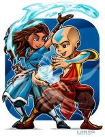 Aang and Katara by lordmesa