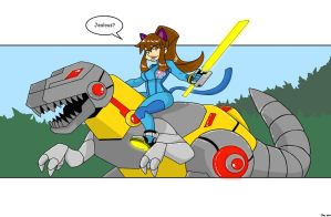 Zero Suit Kitty and Grimlock by MoeAlmighty