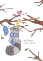 Sly hanging on tree by Kairiina