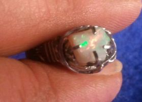 Hand-Made Rough Opal Ring in Stainless Steel by BESTGEM4U