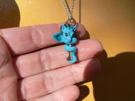 Tiny Antique Key Dragon Pendant by Creatures-of-Fae