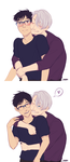 The transition of Yuuri reacting to Victor's hugs by alex-29