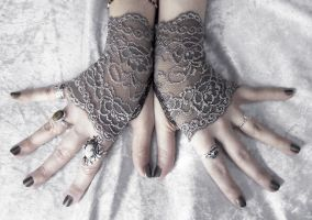 Narquelie Lace Fingerless Gloves by ZenAndCoffee