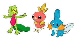 Hoenn Region Starters by firedragon47