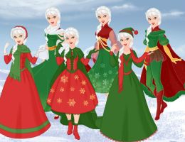 Chistmas Style Frozen Dresses by aminelovercantdraw