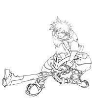 Sora lineart by 13wishes