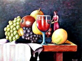 Wine Fruits and Woman by RosaSanat