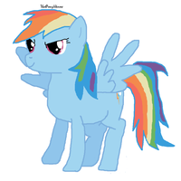 a drawing of rainbow dash by ThatPonyUknow