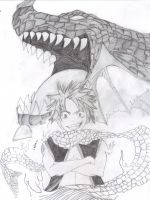 Natsu and Igneel by DarkMagician1611