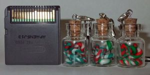 Mint Candy Cane mini bottle Charms by bittykitty