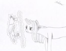 Trixie using a ruler to measure her bird FINISHED! by KlarkKentThe3rd