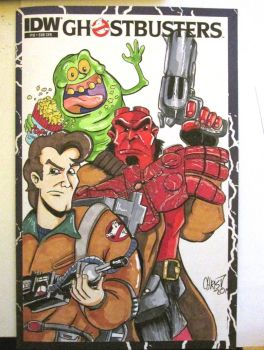 Cartoon Venkman/ Hellboy on Ghostbusters 10 Blank by DerFanboy