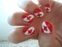 Canada Day Nails by lettym