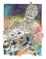 Rocket and Groot by jpzilla