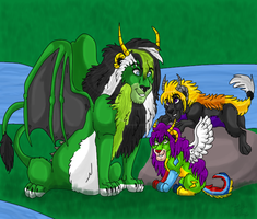 With his kids by dragonrace