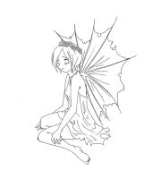 A fairy, who fell-lineart by chiroxsox