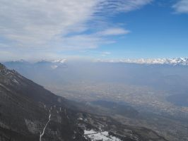 Smoggy Grenoble city and Alps Mountains 2 by A1Z2E3R