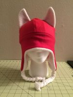 Red Over-the-Ear Hat with Cat Ears by Kit-Series