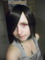my  wig and Red Contacts by Holyrollyempire