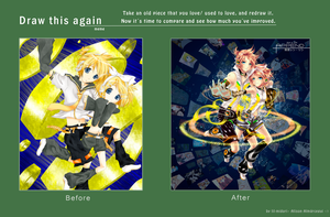 Before and after Kagamine Rin Len Falling by lil-midori