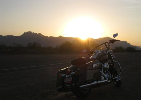 Arizona Sunrise with bike 072614 07 by acurmudgeon