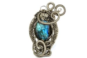 Wire Wrap Gothic Pendant with Labradorite stone by hyppiechic