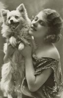 Vintage flapper lady with dog 001 by MementoMori-stock