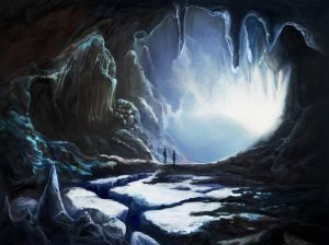 Couple in winter cave by Vilenchik
