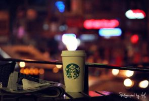 Coffee with city lights by icansleep