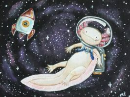 Axolotl in Space by starbuxx
