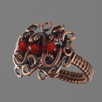 Copper and Red Glass Ring by sylva