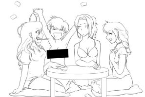 Strip Poker Lineart -Color Me- by Bitter-Cherry
