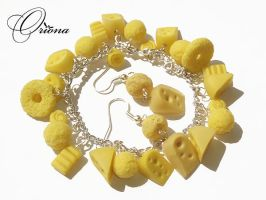 Cheese earrings and bracelet by OrionaJewelry