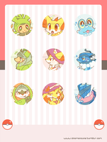 Kalos Region Starters Buttons by Cuney