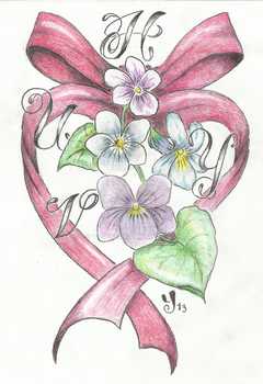Violets and ribbon tattoo design by Ytse80