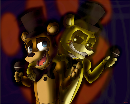 Freddy and Golden Freddy by Sparkgon