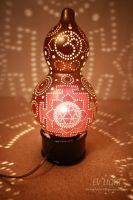 Durga Yantra on TRIYANTRA gourd lamp by EvaLightArt