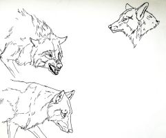 Wolf linearts by CaledonCat