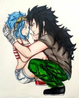 fairy tail : Levy and Gajeel by BakaAden