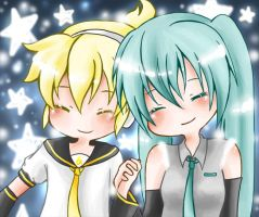 Len and Miku by Naaruuchan