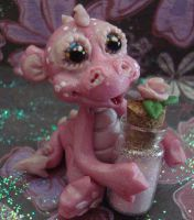 polymer clay ooak pink dragon by crazylittlecritters
