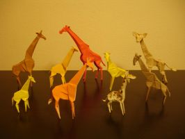 A Tower of Origami Giraffes by origami-artist-galen
