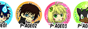 Ao no Exorcist Buttons by gumokohiiragizawa
