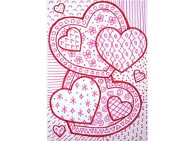 Red and pink zentangle heart ACEO by PeachPodHandmade