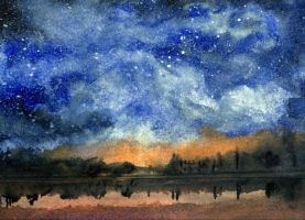 Starry Night Across Our Lake by RandySprout
