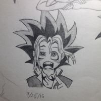 Yugi Mutou sketch, first book - 4/28/15 by Jestloo