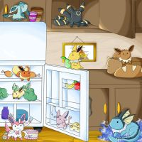 Eevee's Food Pyramid (The Kitchen) by chikadee34