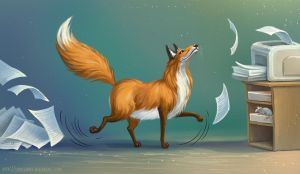 The fox who works hard by LouieLorry