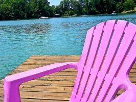 Pink Plastic Chair on the Lake 2 by DoodleGirl67
